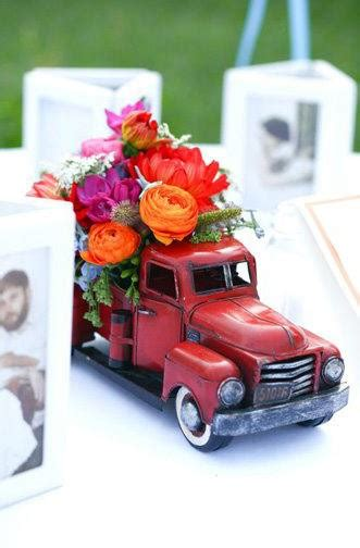What A Cool Table Decoration Old Truck Toy Filled With Classic Car Centerpieces