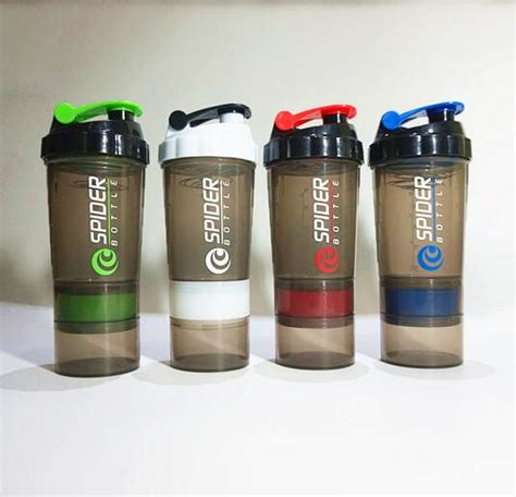 Ready Botol Shaker 3in1 Sport Bottle Shaker 3in1 Shaker Bpa Free protein shaker blender mixer water bottle sports fitness 3 layers multifunction 600ml bpa