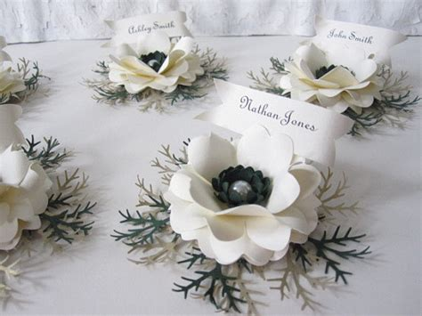 Paper Flowers For Cards - winter time paper flower place cards