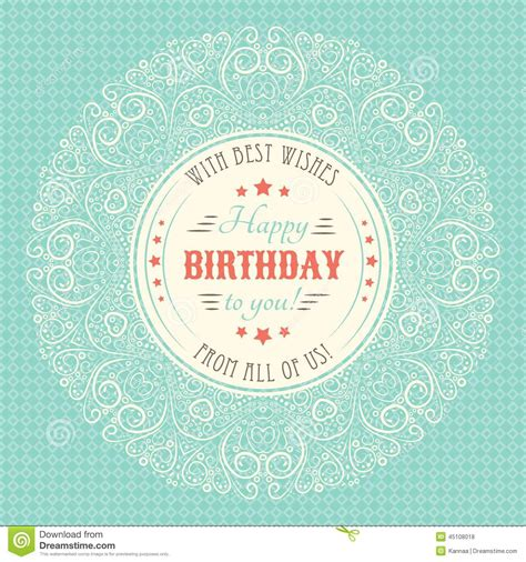 happy birthday vintage design vintage happy birthday card typography letters stock