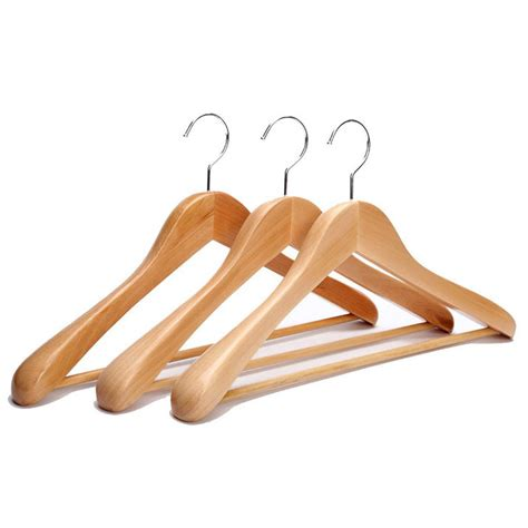 Wooden Cloth Hanger New wide rounded shoulders wood coat hanger with rib bar suit hanger and polished chrome hook