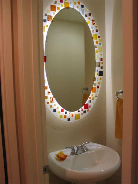 mosaic mirror  lighted  white neon tubing contemporary bathroom los angeles