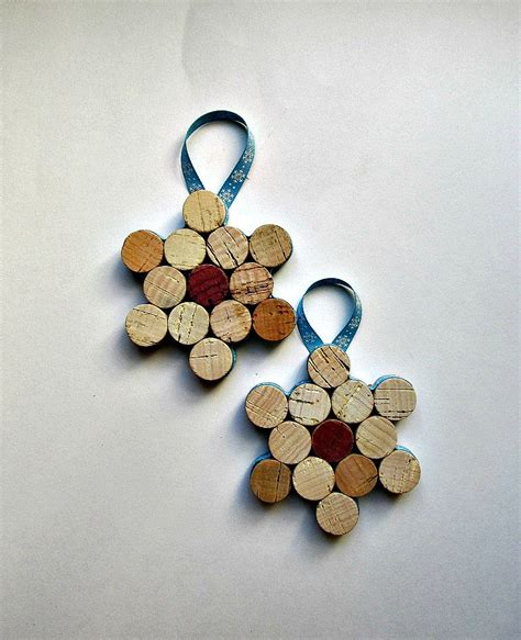 cork snowflake ornament wine bottle by lizziejoedesigns