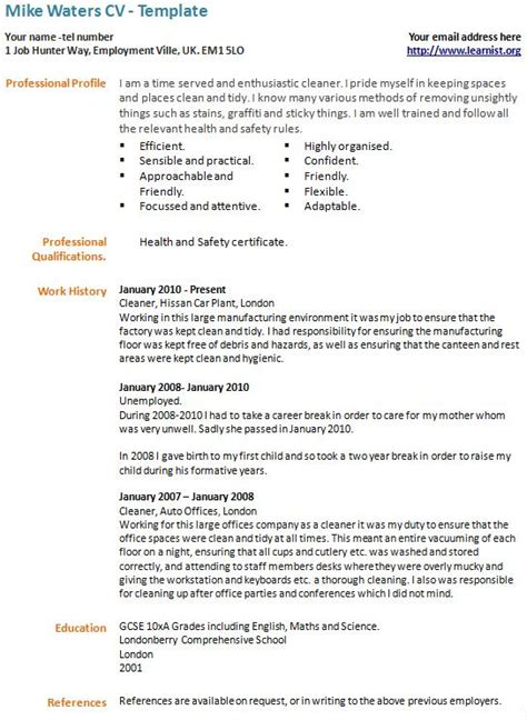 Career Break CV Example   Template   forums.learnist.org