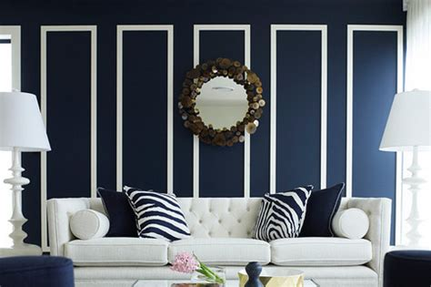 opulent concept of living room decor with navy room decor of wall paint color and accessories in