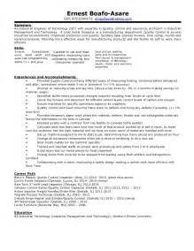 professional resume sles for engineers ernest professional industrial engineering of technology