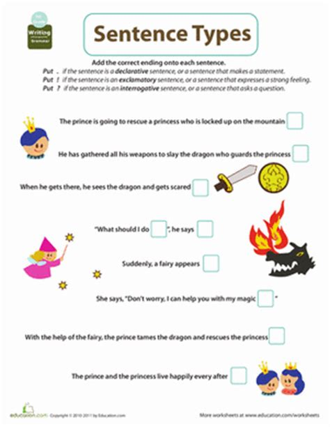 Types Of Sentences Worksheets 2nd Grade by Get Into Grammar Types Of Sentences 2 Worksheet