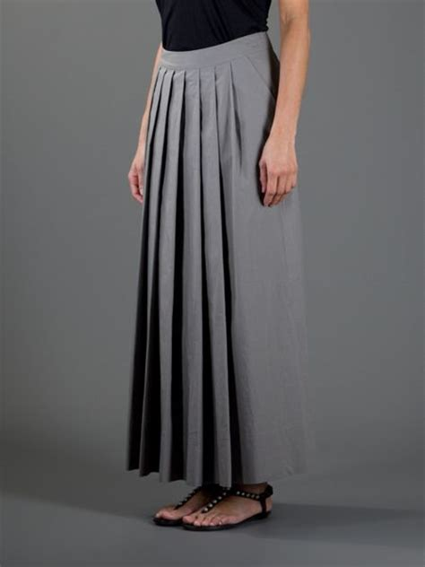 pauw pleated maxi skirt in gray grey lyst
