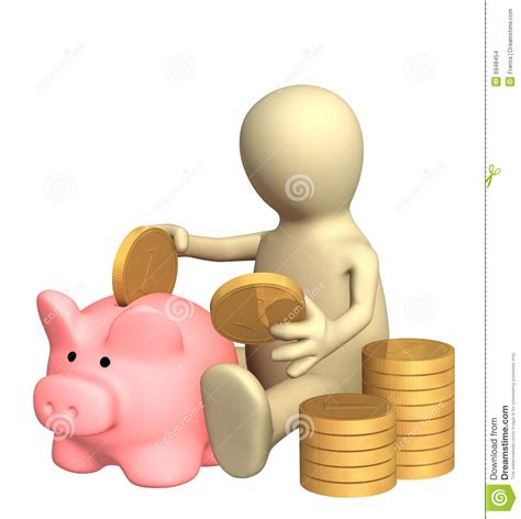 banco popol 3d puppet who is saving money in piggy bank stock photo