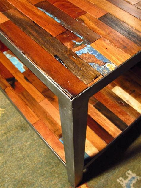 up picture of a reclaimed boat wood coffee table