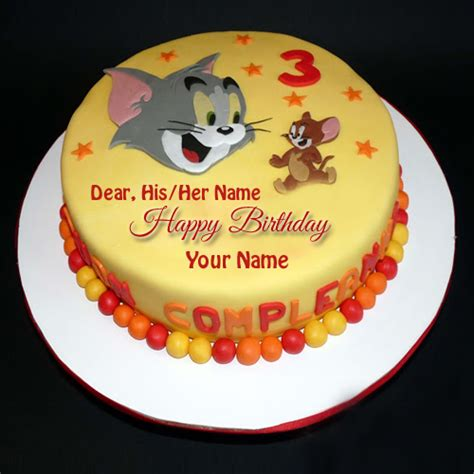 tom and jerry name write name on birthday cake and greeting card
