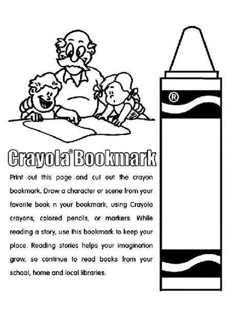 crayon bookmark coloring page crayola com