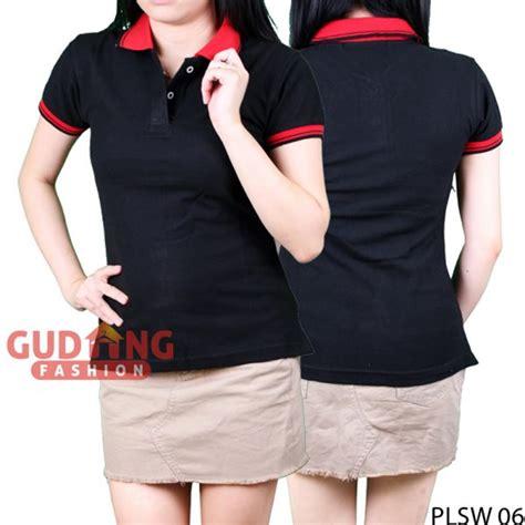Kaos Polo Wanita Plsw 01 kaos wanita kerah polo cotton pique hitam kerah merah