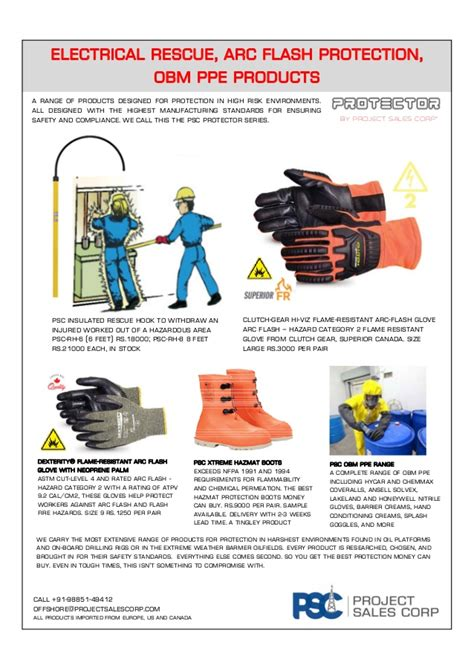 Arc Search Rescue Home psc protection series arc flash rescue and obm ppe range