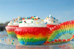 rainbow cupcakes with whipped cream cheese icing