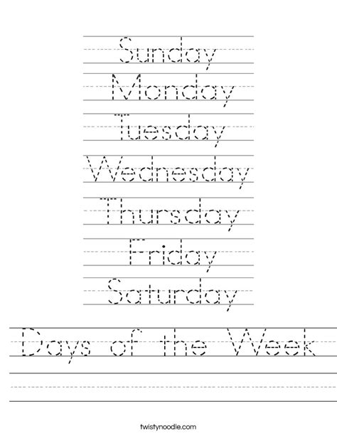 Days Of The Week In Worksheet by Days Of The Week Worksheet Twisty Noodle