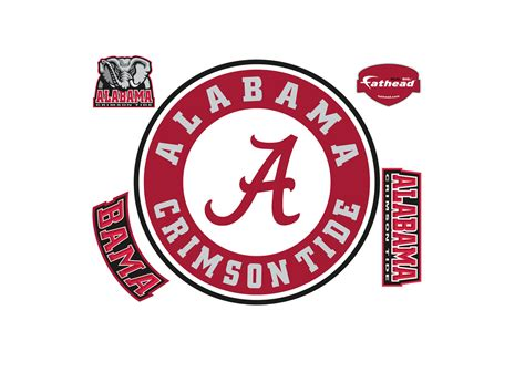 alabama crimson tide logo home decor football sports wall alabama crimson tide circle logo wall decal shop fathead