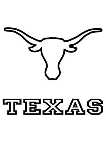 longhorns texas simple logo team coloring page sports