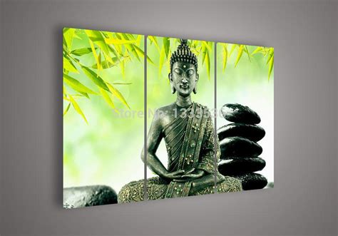 Wholesale Home Decor Online online cheap wall art religion buddha green oil painting