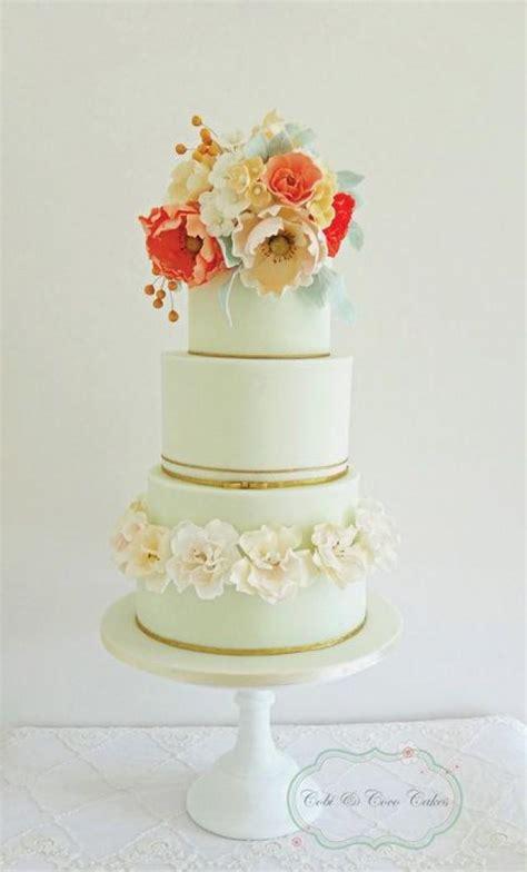 Flower Garden Cake Ideas Wedding Mint Green And Floral Top Wedding Cake Cobi Coco Cakes Garden Wedding 2057412