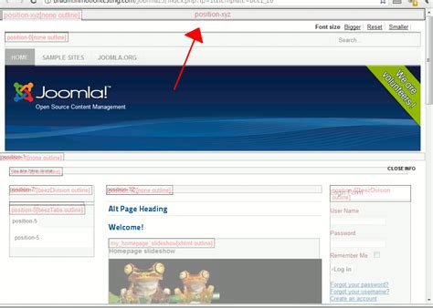 how to add a new position to a joomla 2 5 template