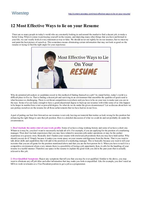 How To Lie On Resume by 12 Most Effective Ways To Lie On Your Resume Wisestep