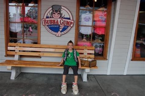 bubba gump bench jake sitting on the bubba gump bench picture of bubba gump shrimp co orlando