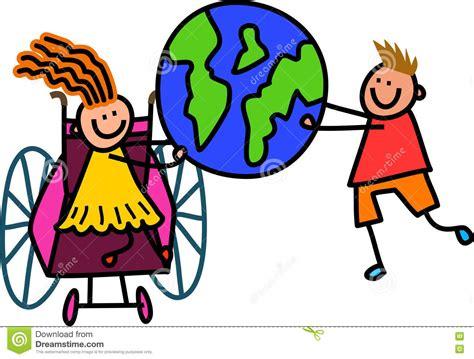 clipart mondo bambini disabili mondo illustrazione di stock