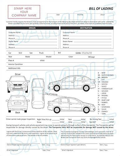 Vehicle Transport Bill Of Lading Form Automotive Auto Transport Bill Of Lading Template Free