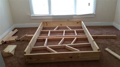 My First Diy Project Rustic Style Bed Frame Bed Frame Construction