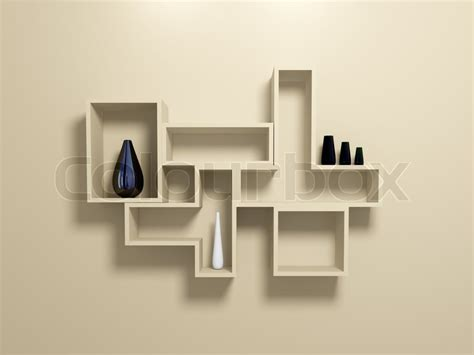 Modern Wall Vase by Modern Shelves On Beige Wall With Decorative Vases Stock