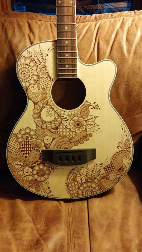 henna design guitar custom bass guitar hand mehndi drawn style design by