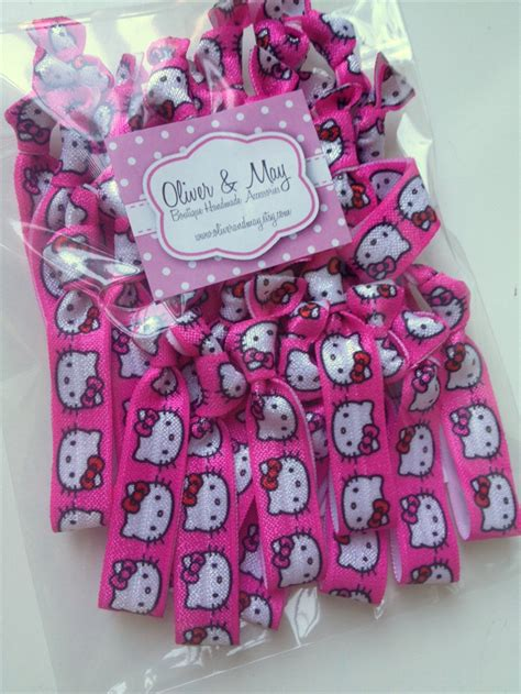 bulk 30 hello kitty elastic hair ties birthday favours giveaways loot bags oliver - Hello Kitty Giveaways For Birthday