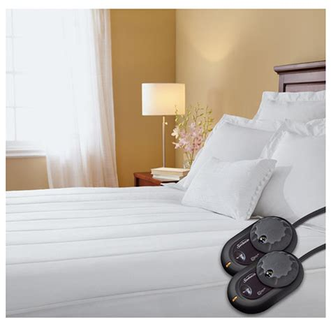 Heated Mattress Pads King Size sunbeam thermofine quilted striped heated electric mattress pad king size ebay