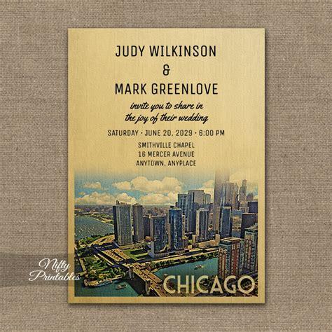 Wedding Invitations Chicago by Chicago Illinois Wedding Invitation Printed Nifty Printables