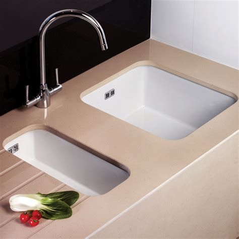 Kitchen Sinks Ceramic | astini hton 150 1 5 bowl white ceramic undermount kitchen sink waste set ebay