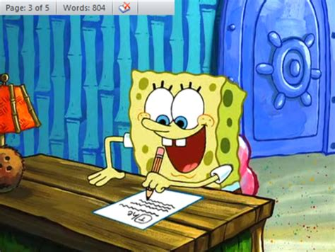 spongebob writing paper language society our weekly activities