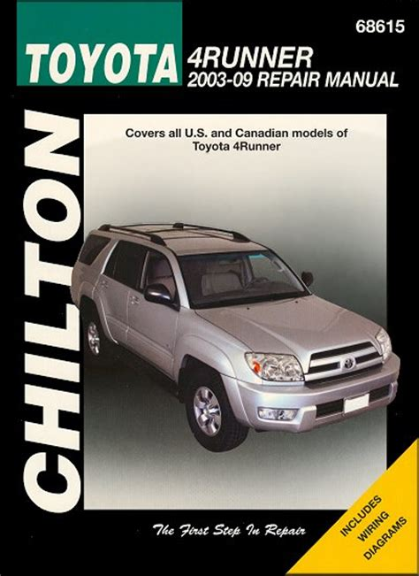 car manuals free online 2001 toyota 4runner electronic valve timing toyota 4runner repair service manual 2003 2009 chilton 68615