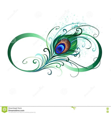 infinity symbol with peacock feather stock vector
