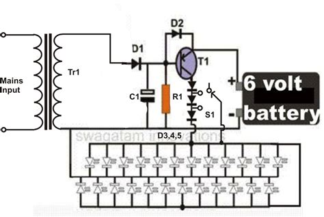 Rechargeable Led L Circuit Diagram by Simple Led Emergency Light Circuit