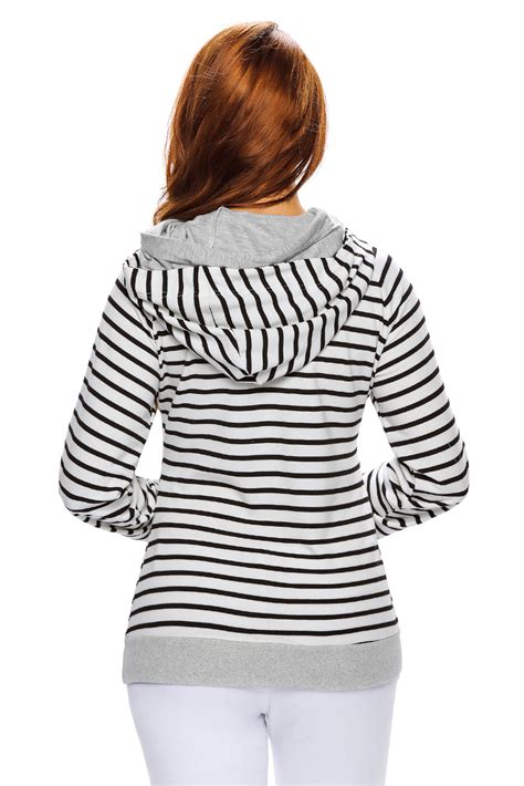 19051 Black White Stripped Sale Casual Two Pcs cheap black white stripe hooded sweatshirt