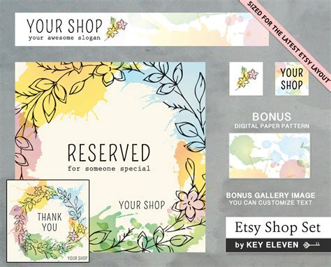 etsy banners free templates premade etsy shop set with banner graphics modern