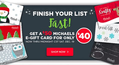 Michaels Gift Card Discount - michael s 50 egift card only 40 no codes needed