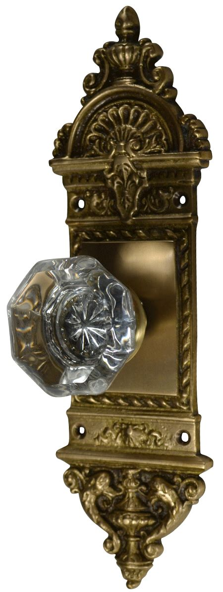 Glass Door Knobs With Backplates by Octagon Glass Door Knob With Ornate Backplate Antique