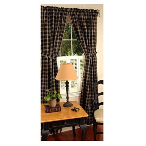 middletown check black 63 quot curtains - 63 Curtains Window Treatments