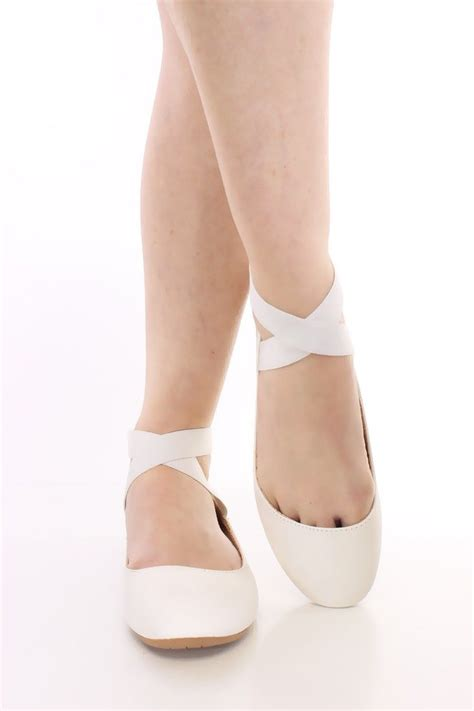 white ballerina slippers white crisscross ankle strappy flats faux leather ballet