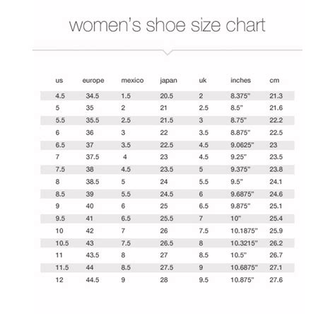 shoe size to womens size charts measurements jcpenney