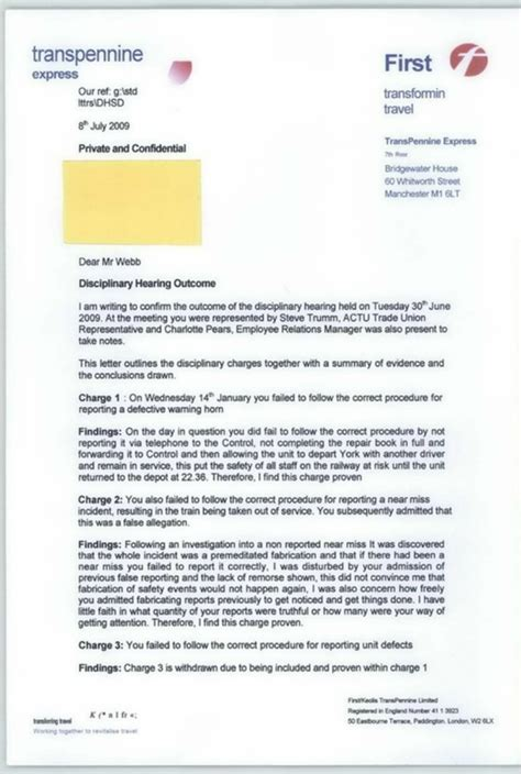 Appeal Letter Outcome News Information Contact Me Transpennine Express Conspiracy