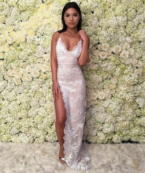 Flower Slit Dress dress white dress flowers v neck dress slit dress