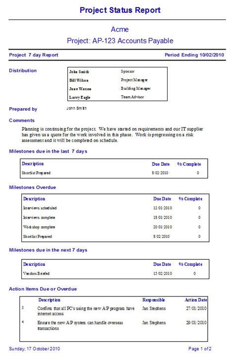 weekly project report template project status report template excel format annual